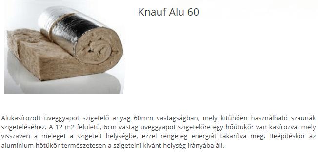Knauf alu 60 alukasírozott üveggyapot szigetelő