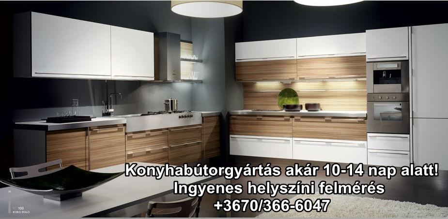 Magasfényű fehér és barna konyha ajtófront akril anyagból modern stílusban. Beépített Teka páraelszívó, beépített Teka elektromos sütő.A konyhabútor lágy meleg hatást kölcsönöz a térben mind ez mellett nyomásra nyíló konyhaajtók teszik konyhabútorát kényelmesebbé. Kérje az ingyenes helyszíni felmérést. Konyhabútor gyártás Budapest és Pest megye