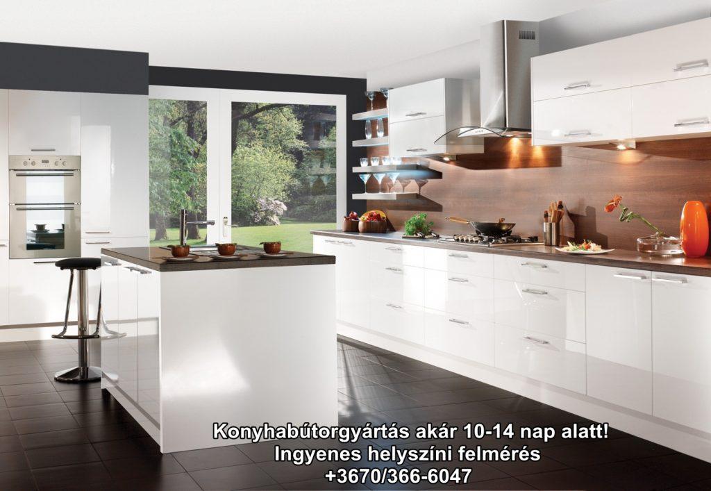 Fehér színű magasfényű akril konyhabútor ajtófront.Konyhabútorgyártás akár 10 hét alatt,ingyenes felméréssel.