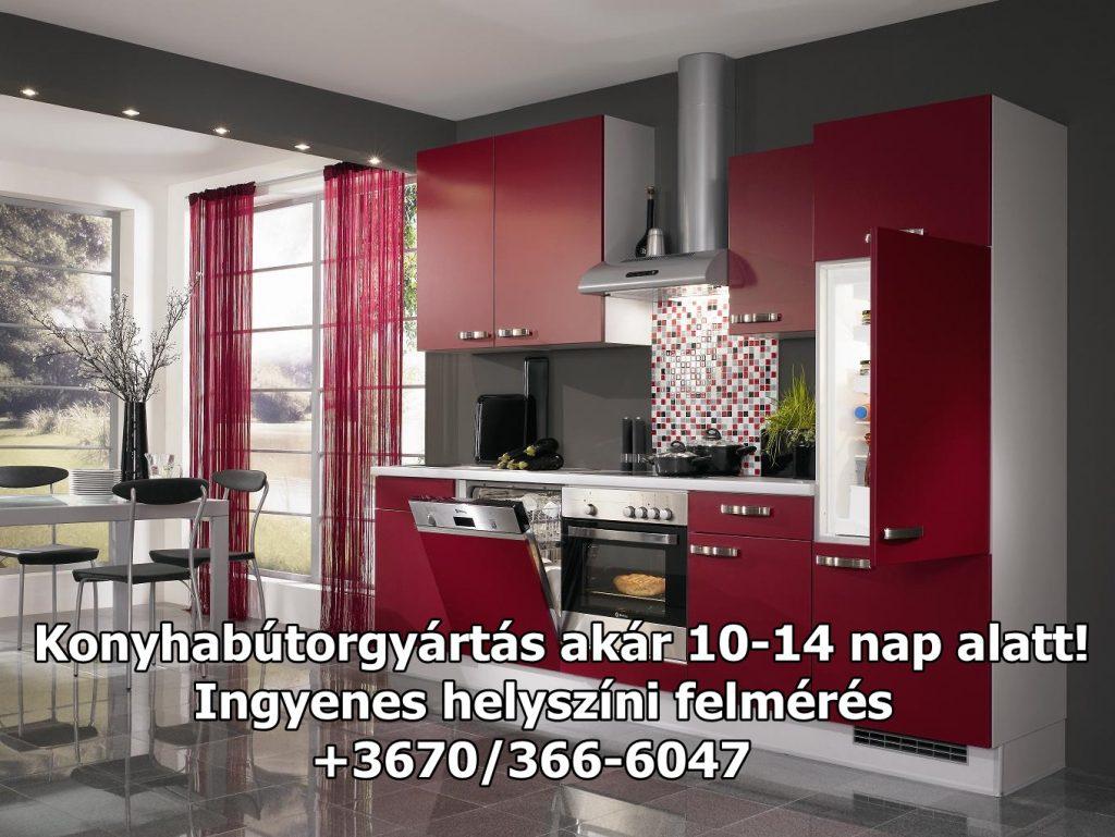 Bordó színű magasfényű akril ajtófront konyhabútor látványos, szép formát kölcsönöz.Otthona szép dísze egy jól eltalált színkombinációval megvalósított konyhabútor összeállítás.konyhabútor tervezéstől a beépítésig számos kiegészítővel.