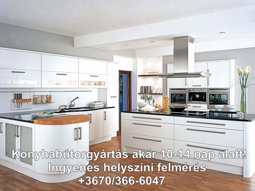 Fehér beépített konyhabútor, magas fényű akril ajtófront, sziget páraelszívó konyhasziget fölé építve, fekete színű munkapult, felnyíló konyhabútorajtó, üveges konyhabútor ajtófront. A fehér és fekete kontraszt tökéletesen egyesül a fényes felületű konyhabútor ajtófronttal. Otthonunkban a letisztult forma a modern konyha világot megidézve, amely minden családi házba tökéletesen illeszkedik.15
