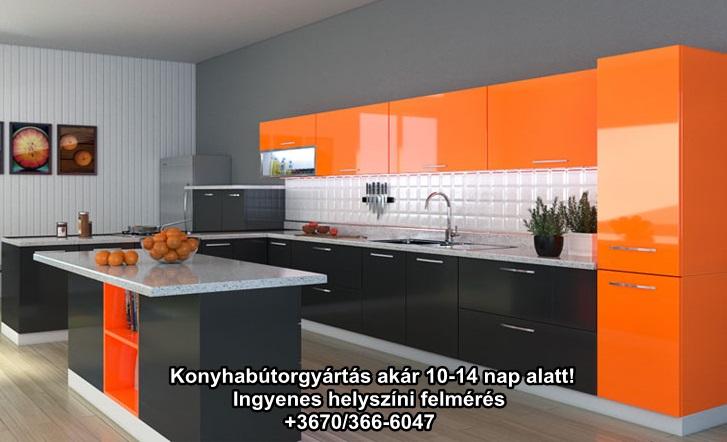 Magasfényű narancs színű beépített konyhabútor ledes konyhapult világítással.