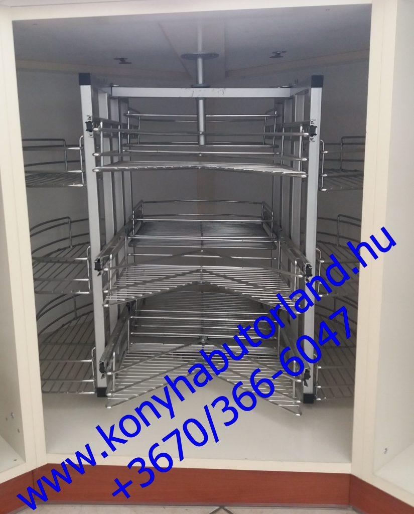 Sarok konyhabútorelembe szerelhető fémpolc