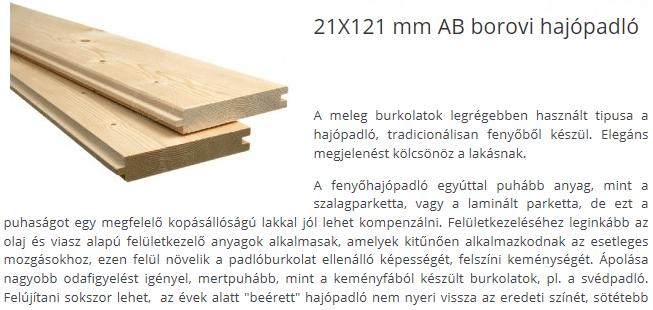 Borovi hajópadló 21x120 mm